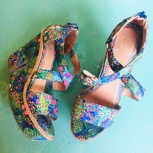 Anthropologie Miss Albright Floral Wedge Sandals